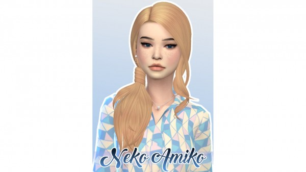 Neko Amiko: Simpliciaty`s Ivory hair retextured for Sims 4