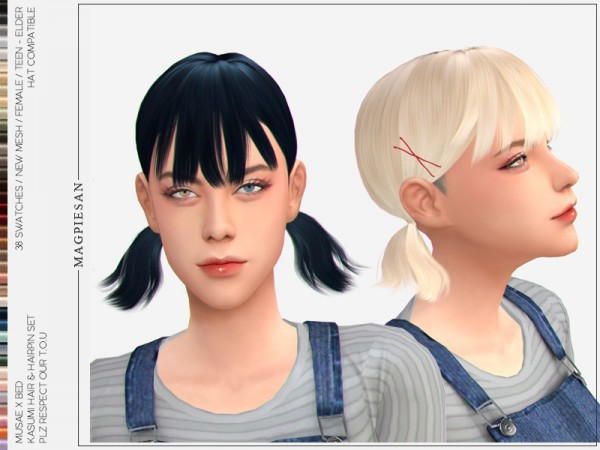 The Sims Resource: Kasumi Hair set by magpiesan for Sims 4