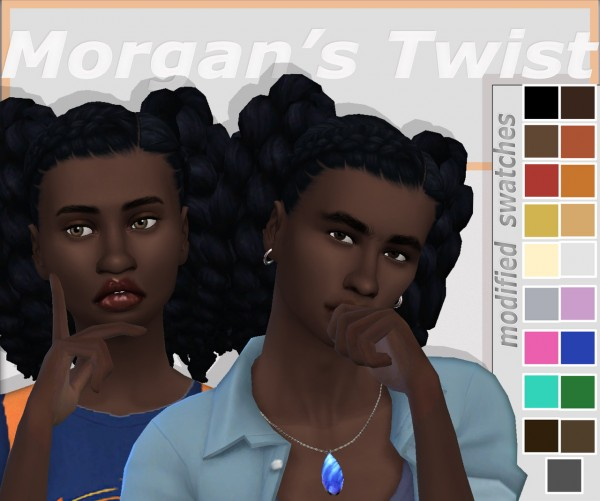 Dbasiasimbr: Morgan`s Twist Hair Retextured for Sims 4