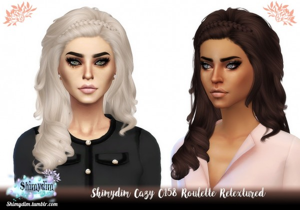 Shimydim: Cazy C158 Roulette Hair Retextured for Sims 4