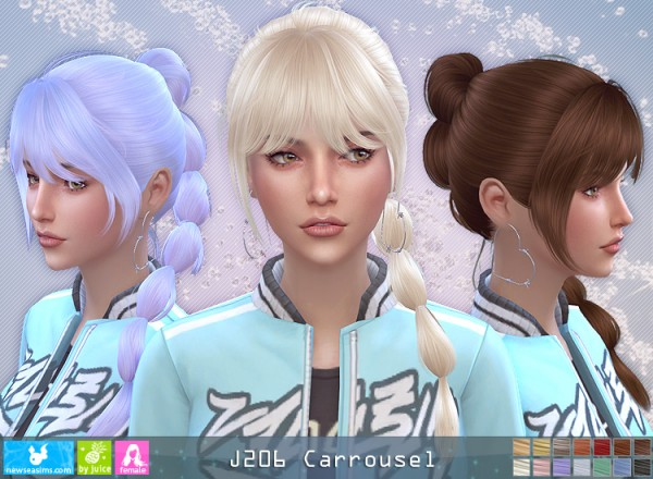 NewSea: J206 Carrousel hair for Sims 4