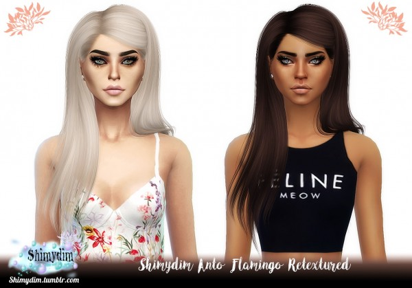 Shimydim: Anto`s Flamingo Hair Retextured for Sims 4