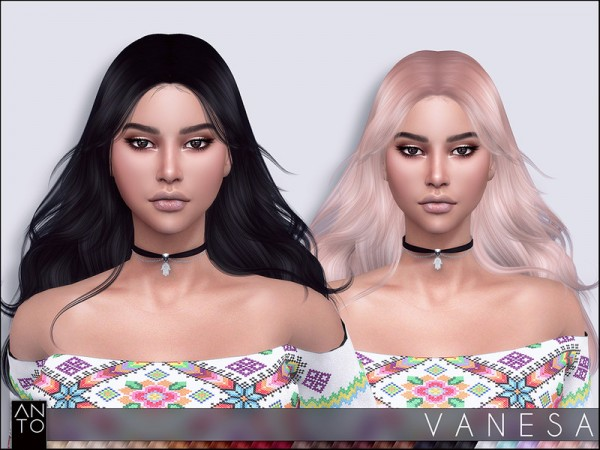 The Sims Resource: Vanesa Hair by Anto for Sims 4