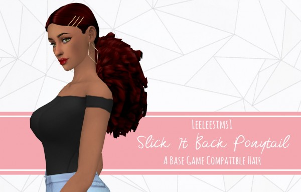 Leelee Sims: Slick It Back Ponytail Hair for Sims 4