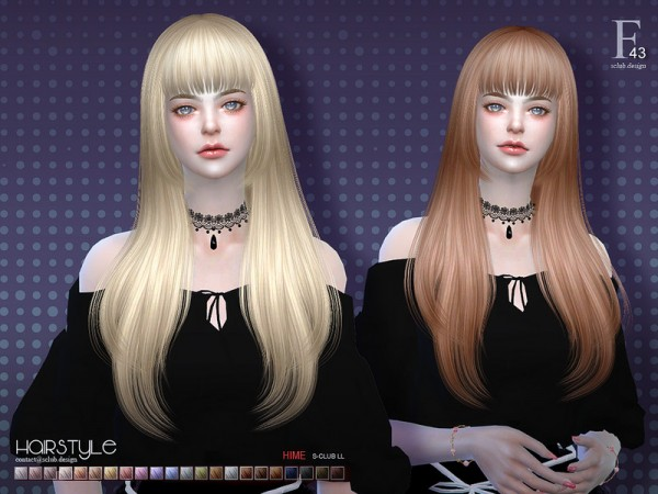 The Sims Resource: Hime n43 hair by S Club for Sims 4