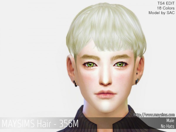 MAY Sims: MAY356M Hair retextured for Sims 4