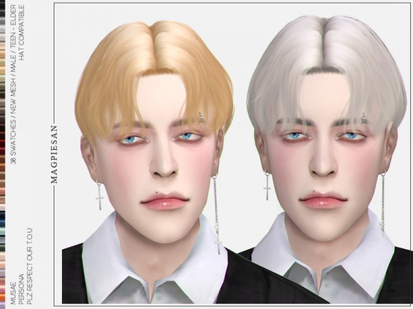 The Sims Resource: Persona Hair by magpiesan for Sims 4