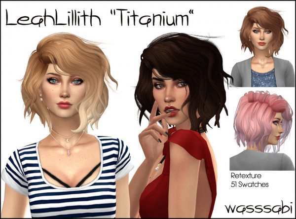 Wasssabi Sims: LeahLillith`s Titanium hair retextured for Sims 4