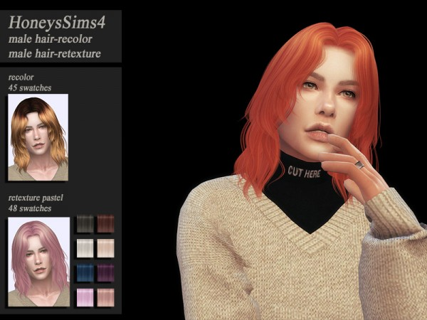 The Sims Resource: Anto`s Leo hair recolored by Jenn Honeydew Hum for Sims 4