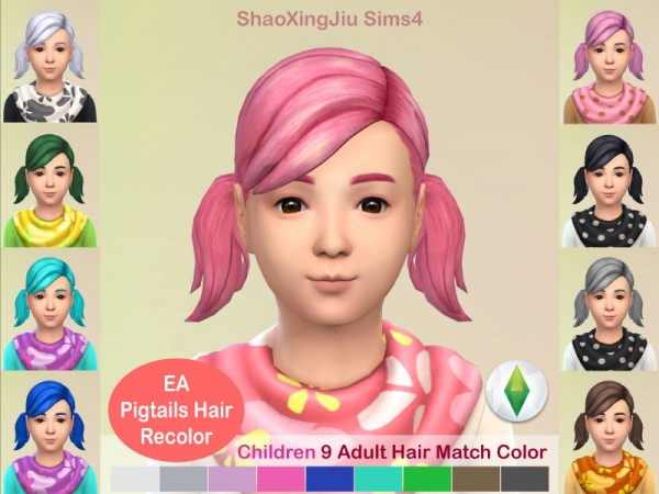 The Sims Resource: Kid Pigtails Hair Recolored by jeisse197 for Sims 4