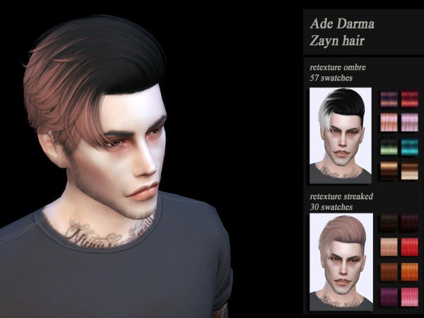 The Sims Resource: Ade darma`s Zayn Hair Retextured by Jenn Honeydew Hum for Sims 4