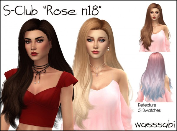 Wasssabi Sims: S`Club`s N18 Hair Retextured for Sims 4