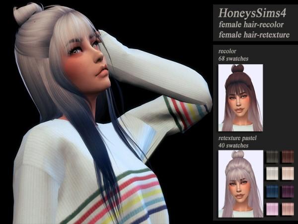The Sims Resource: LeahLillith`s Dusty Cloud Hair Retextured by Jenn Honeydew Hum for Sims 4