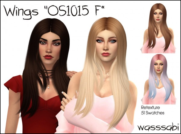 Wasssabi Sims: Wings os1015 f hair retextured for Sims 4