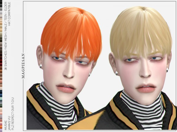 The Sims Resource: Jamais Vu Hair by magpiesan for Sims 4