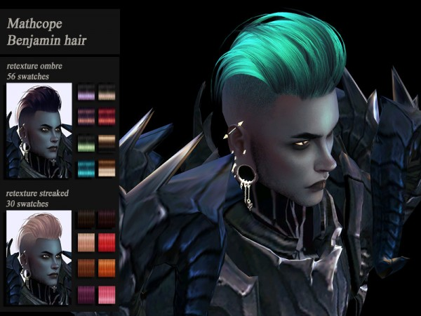 The Sims Resource: Mathcope`s Benjamin Hair Retextured by Jenn Honeydew Hum for Sims 4