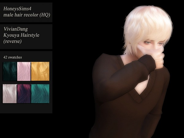 The Sims Resource: VivianDang HQ hair recolored by Jenn Honeydew Hum for Sims 4