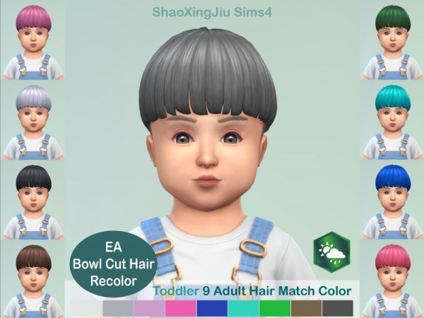 The Sims Resource: Bowl Cut Hair Recolored by jeisse197 for Sims 4
