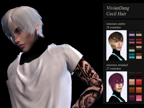 The Sims Resource: VivianDang`s Cecil hair retextured by Jenn Honeydew Hum for Sims 4