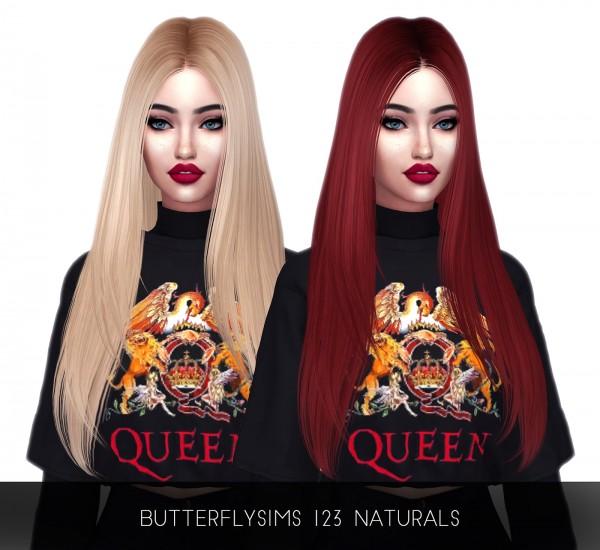 Kenzar Sims: Butterfly`s 123 Naturals hair retextured for Sims 4