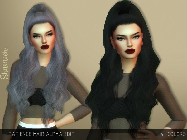 The Sims Resource: Patience Hair Alpha Edit by Sharareh for Sims 4