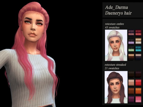 The Sims Resource: Ade Darma`s Daenery Hair Retextured by Jenn Honeydew Hum for Sims 4