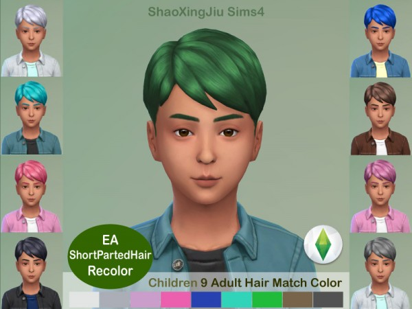 The Sims Resource: Kid Short Parted Hair Recolored by jeisse197 for Sims 4