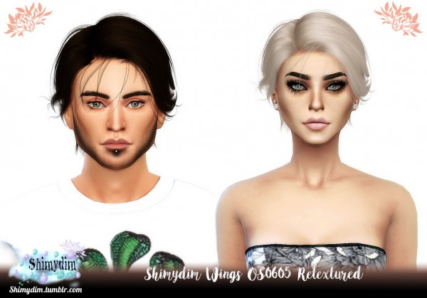 Shimydim: Wings OS0605 Hair Retextures for Sims 4