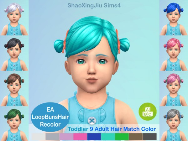 The Sims Resource: Loop Buns Hair Recolored by jeisse197 for Sims 4