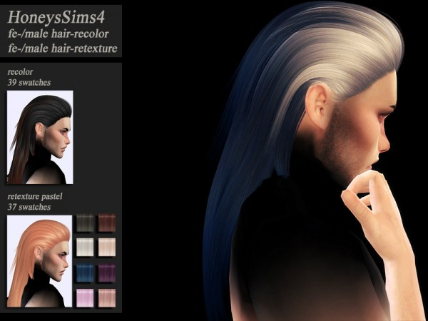 The Sims Resource: S Club`s Quella Hair Retextured by Jenn Honeydew Hum for Sims 4