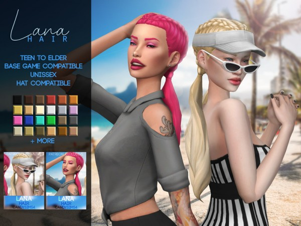 The Sims Resource: Lana Hair Retextured by c4ndypr1ncess for Sims 4
