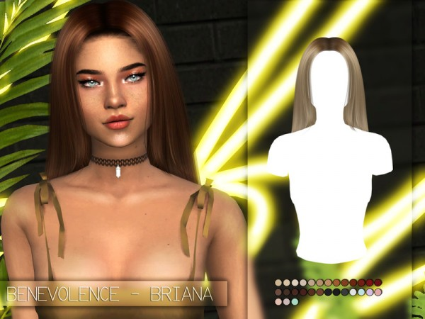 The Sims Resource: Briana Hair Retextured by Benevolence c for Sims 4