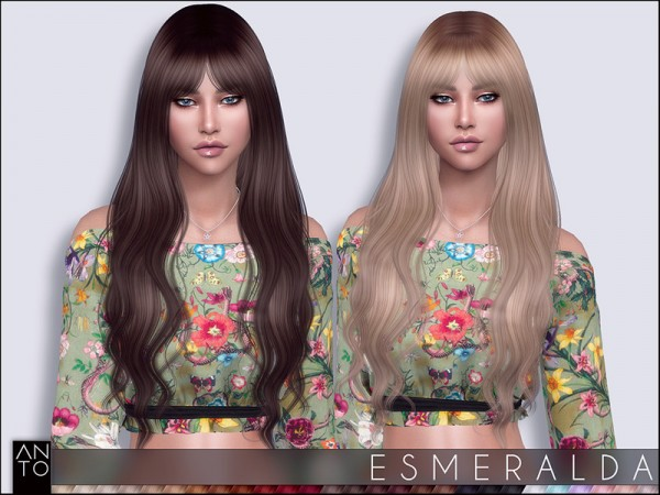 The Sims Resource: Esmeralda Hair by Anto for Sims 4
