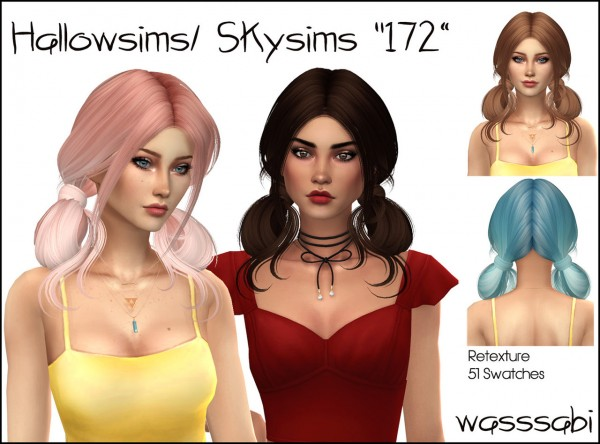 Wasssabi Sims: Skysims 172 hair retextured for Sims 4