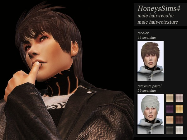 The Sims Resource: Ade Darma`s Jack hair retextured by Jenn Honeydew Hum for Sims 4
