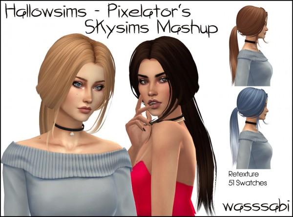 Wasssabi Sims: Skysims Mashup hair retextured for Sims 4