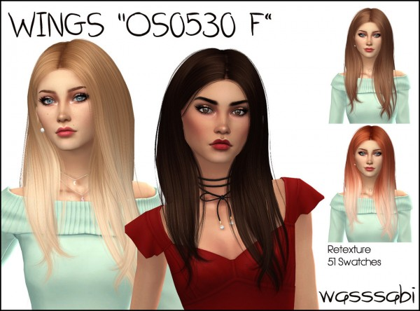 Wasssabi Sims: Wings`s OS0530 F Hair retextured for Sims 4
