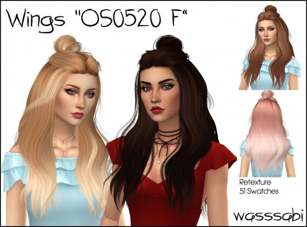 Wasssabi Sims: Wingssims OS0520 F hair retextured for Sims 4