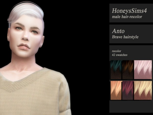 The Sims Resource: Anto`s Brave hair retextured by Jenn Honeydew Hum for Sims 4
