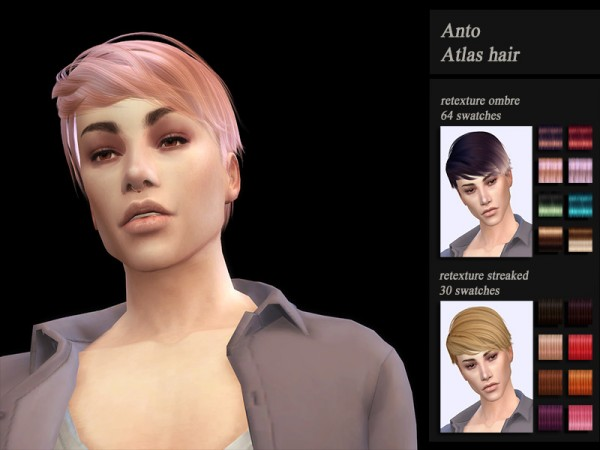 The Sims Resource: Anto`s Atlas Hair Retextured by Jenn Honeydew Hum for Sims 4