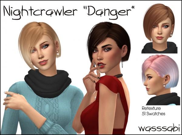 Wasssabi Sims: NightCrawler`s Danger Hair Retextured for Sims 4