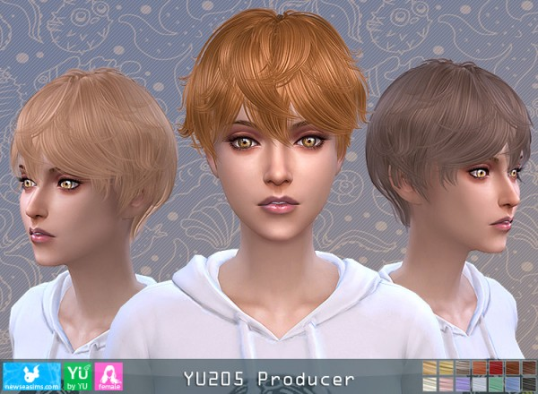 NewSea: YU205 Producer Hair for her for Sims 4