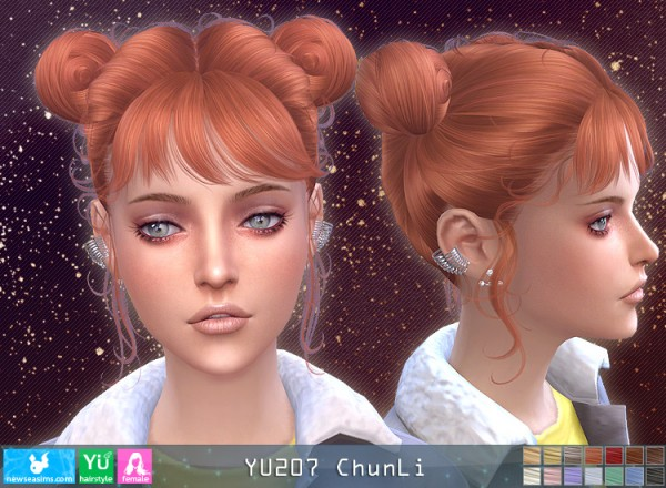 NewSea: YU207 Chun Li hair for Sims 4