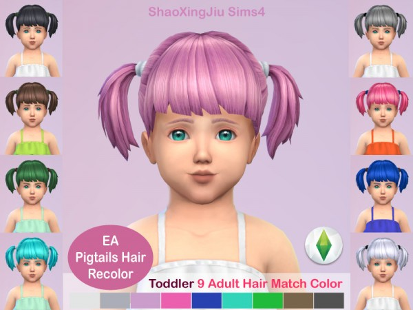 The Sims Resource: Pigtails Hair Recolored by jeisse197 for Sims 4