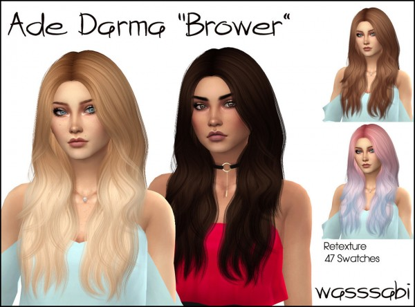 Wasssabi Sims: Ade Darma`s Brower hair retextured for Sims 4