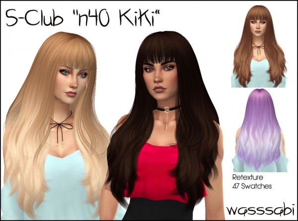 Wasssabi Sims: S Club`s N40 Kiki Hair Retextured for Sims 4
