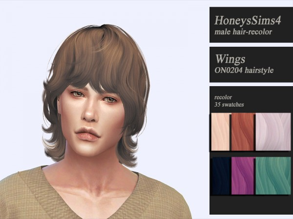 The Sims Resource: Wings ON0204 hair retextured by Jenn Honeydew Hum for Sims 4