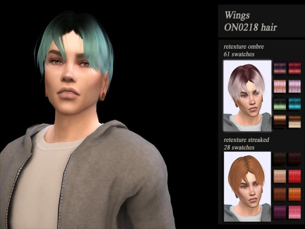 The Sims Resource: Wings ON0218 hair retextured by Jenn Honeydew Hum for Sims 4