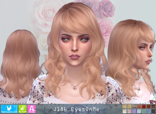NewSea: J186 Eyes One Me Hair for Sims 4