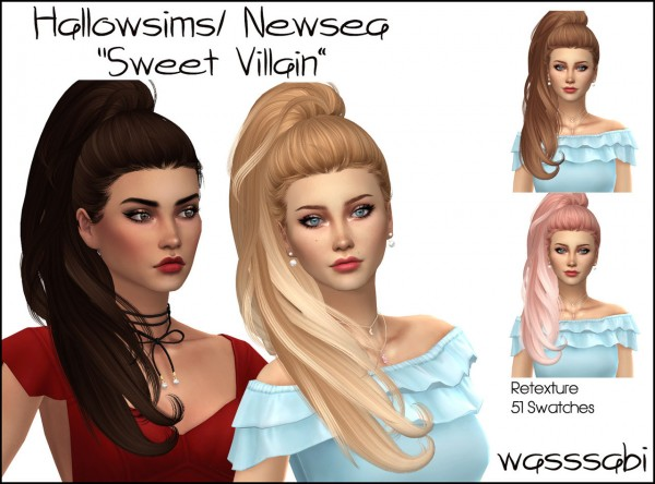 Wasssabi Sims: NewSea`s Sweet Villain hair retextured for Sims 4
